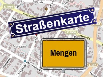 Straßenkarte Mengen